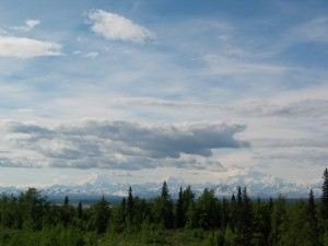 The big three peaks of the Alaska Range -- Foraker, Hunter, and Denali