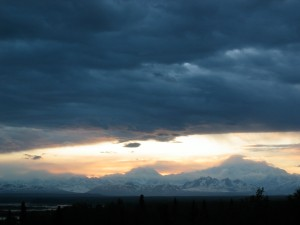 The peaks at sunset from Talkeetna