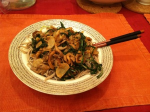 Braised oyster mushrooms, turnips, and mizuna over soba